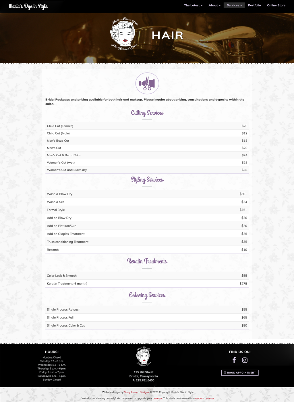 marias dye in style services page